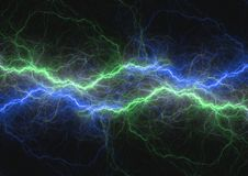 Blauwe en groene bliksembout, abstract plasma en Stock Fotografie