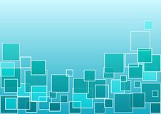 Blauwe en groene geometrische achtergrond met vierkanten Vector royalty-vrije illustratie