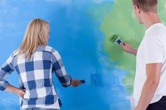 Blauwe en groene geschilderde muur Royalty-vrije Stock Foto