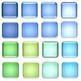Blauwe en groene glasknopen Stock Afbeeldingen