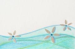 Blauwe en groene golven met zilveren bloemen Stock Fotografie