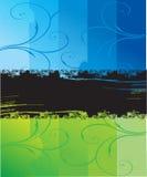 blauwe en groene grungeachtergrond Royalty-vrije Stock Afbeeldingen