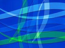 Blauwe en Groene lijnen die op Blauwe Achtergrond buigen Stock Fotografie