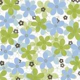 Blauwe en groene madeliefjes op witte achtergrond Stock Afbeeldingen