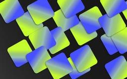 Blauwe en groene overlappende vierkantenachtergrond - Abstract geometrisch vormenbehang stock illustratie