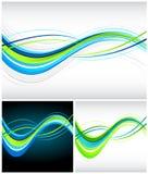 Blauwe en groene stromende lijnen Royalty-vrije Stock Foto's