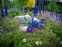 Blauwe en groene tuin van glas en het leven installaties Royalty-vrije Stock Fotografie