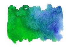 Blauwe en groene waterverfvlek Royalty-vrije Stock Afbeeldingen