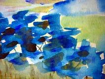 Blauwe en Groene Waterverven Royalty-vrije Stock Fotografie