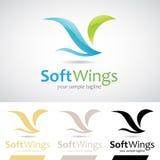 Blauwe en Groene Zachte Vleugelsvogel Logo Icon Stock Afbeelding