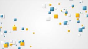 Blauwe en oranje abstracte vierkanten geometrische videoanimatie stock footage