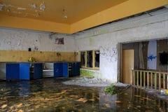 Blauwe en oranje keuken met mos op de vloer Royalty-vrije Stock Foto's