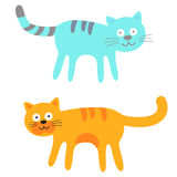 Blauwe en Oranje Leuke Katten Stock Afbeeldingen