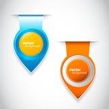 Blauwe en oranje ronde wijzers voor uw pagina Royalty-vrije Stock Afbeeldingen