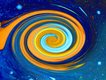 Blauwe en oranje werveling. stock fotografie