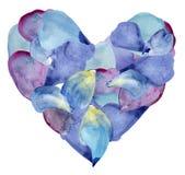 Blauwe en purpere bloemblaadjes in vorm van hart De illustratie van de waterverf royalty-vrije illustratie