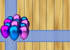 Blauwe en purpere partijballons met blauw lint  Royalty-vrije Stock Foto
