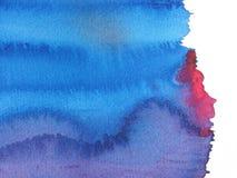 Blauwe en rode abstracte waterverfachtergrond Vector Illustratie