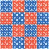 Blauwe en rode bloemen Stock Foto's