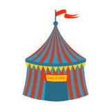 Blauwe en Rode Gestreepte Circustent, een Deel van Pretpark en Eerlijke Reeks Vlakke Beeldverhaalillustraties Stock Foto