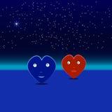 Blauwe en rode harten op een datum Stock Foto's