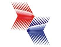 Blauwe en rode pijlen Stock Afbeelding
