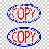 Blauwe en rode rubberzegel, exemplaar bij transparante effect achtergrond Stock Foto's