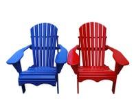Blauwe en Rode Stoelen Muskoka Royalty-vrije Stock Afbeelding