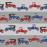 Blauwe en rode twee beeldverhaal retro auto als achtergrond Stock Afbeelding