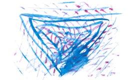Blauwe en rode waterverf abstracte lijnen Stock Foto's