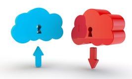 Blauwe en rode wolk van gegevens Stock Foto's