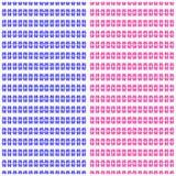 Blauwe en roze abstracte bloemen op een wit naadloos patroon als achtergrond Stock Afbeeldingen