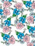 Blauwe en roze bloemen Stock Fotografie