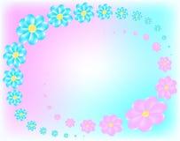 Blauwe en roze bloemen Stock Foto's