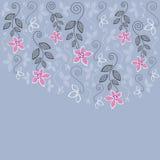 Blauwe en roze bloemengroetkaart Royalty-vrije Stock Fotografie