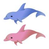 Blauwe en Roze Dolfijnen op Wit Stock Fotografie