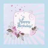 Blauwe en roze gelukkige verjaardagskaart Stock Afbeeldingen