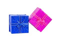 Blauwe en roze giftdoos Stock Afbeelding