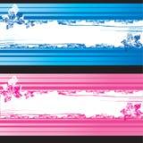 Blauwe en roze grungebanners met bloemenelementen Royalty-vrije Stock Afbeelding