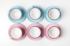 Blauwe en roze koppen op abstracte achtergrond Stock Fotografie