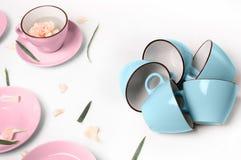 Blauwe en roze koppen op abstracte achtergrond Stock Afbeeldingen