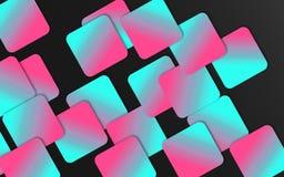 Blauwe en roze overlappende vierkantenachtergrond - Abstract geometrisch vormenbehang vector illustratie