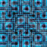Blauwe en roze psychedelische veelhoeken en lijnen op een zwarte achtergrond Grungeeffect Stock Foto's