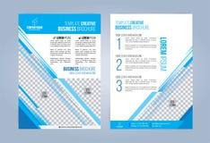 Blauwe en Witte Bedrijfsbrochure Stock Afbeeldingen