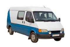 Blauwe en witte bestelwagen Stock Foto's