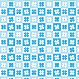 Blauwe en witte bloem geruit met het gestormde patroon van de lijncirkel Stock Afbeeldingen