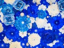 Blauwe en witte bloemen voor achtergrond Stock Afbeelding