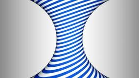 Blauwe en witte concave roterende cilinder met hypnotic gevolgen stock video