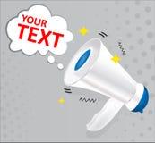 Blauwe en witte die megafoon met toespraakbel op grijze achtergrond wordt geïsoleerd Sociale Media die concept op de markt brenge stock illustratie