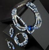 Blauwe en witte geparelde halsband Royalty-vrije Stock Foto